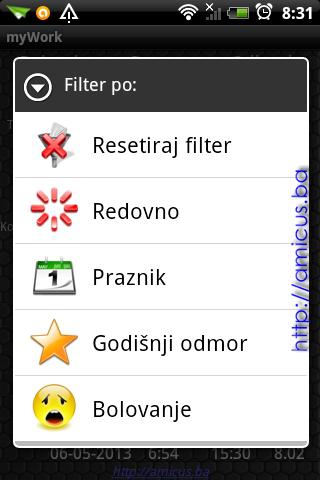 Opcije menia filtriranja