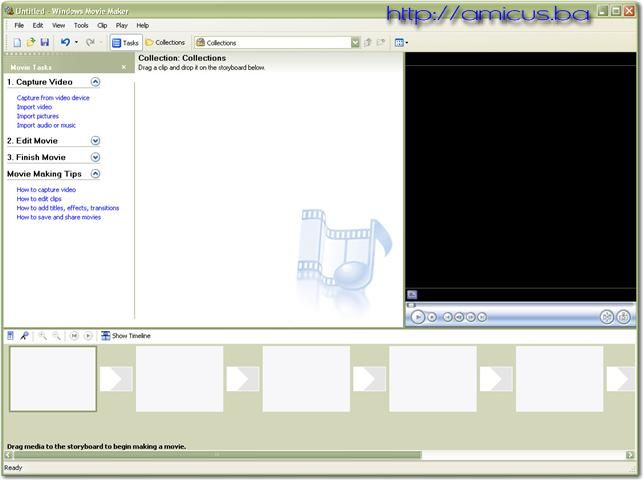 Prozor Windows movie maker-a